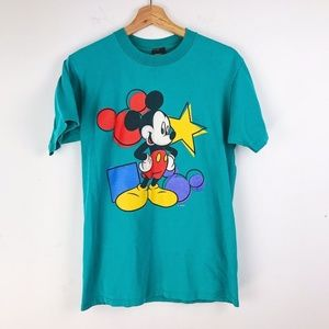 Vintage Disney Mickey Mouse Teal Graphic T Shirt